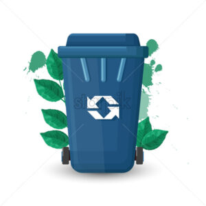 Blue trash can with lid and ecology sign. Green leaves on background. Vector - Starpik Stock