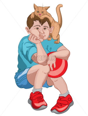 Bored boy in blue t-shirt, shorts and red sneakers holding a ball while his cat is playing on his head. Vector - Starpik Stock