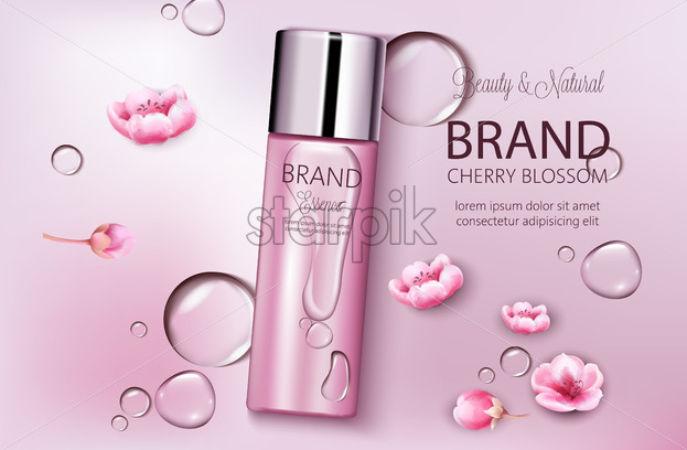 Bottle of cosmetics cherry blossom. Product placement. Natural beauty. Place for brand. Water drops background. Realistic vector - Starpik Stock