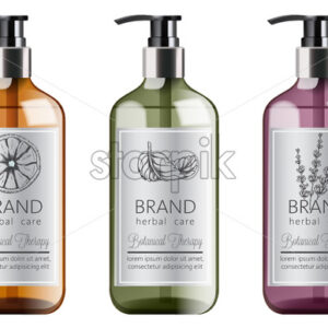 Bottles set of organic shampoo with herbal care. Various plants and colors. Mint, orange and lavender. Place for text. Vector - Starpik Stock