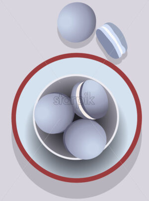 Bowl filled with blue macarons in a tray. White cream inside. Vector - Starpik Stock