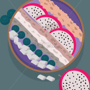 Bowl filled with different layers of porridge with marshmallow, blueberries and dragon fruit slices. Vector - Starpik Stock