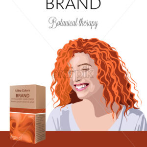 Box with cosmetics for color hair with place for text. Smiling curly ginger woman in background. Botanical therapy. Place for brand.. Vector - Starpik Stock