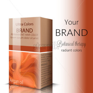 Box with cosmetics for hair color with place for text. Botanical therapy. Place for brand. Vector - Starpik Stock