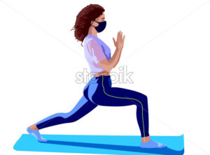Brunette girl dressed in pink top, blue leggings, white socks and surgical mask doing yoga on blue training mat. Corona virus solo activity in nature. Vector - Starpik Stock