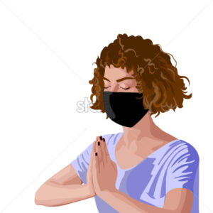 Brunette girl with curly hair in pink t-shirt and black surgical mask meditating. Corona virus solo activity in nature. Vector - Starpik Stock