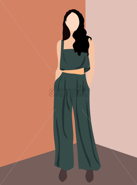Brunette glamorous woman dressed in olive pants, top and brown shoes. Vector - Starpik Stock
