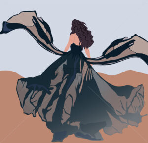 Brunette with curly hair and blowed by the wind black dress walking in the desert. Vector - Starpik Stock