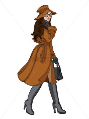 Brunette woman in autumn clothes with a smile on her face. Brown hat, coat, pants, black gloves, sunglasses, handbag and boots. Vector - Starpik Stock