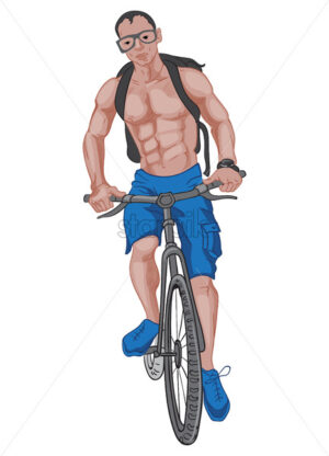 Buff man in blue shorts and shoes, with a backpack, glasses and watch riding the bike. Vector - Starpik Stock