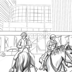 Cheerful police officers on horses in the city. Smiling man hugging the horse. Line art. Vector - Starpik Stock