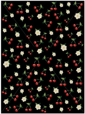 Cherries and cherry blossom pattern on black background. Sakura tree. Vector - Starpik Stock