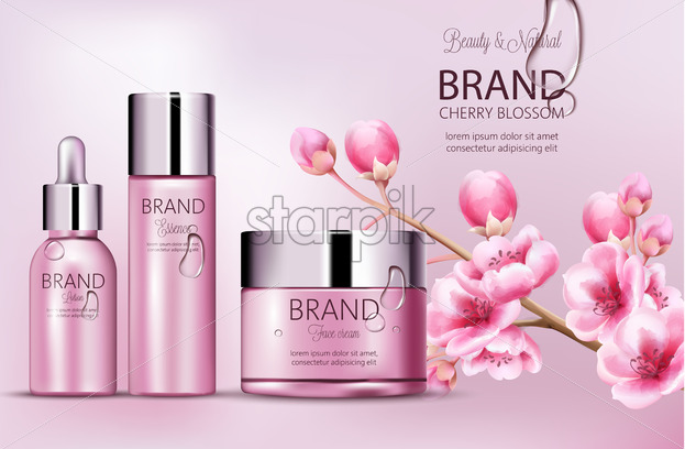 Cherry pink cosmetics brand. Set of bottles with essence, face cream, lotion. Product placement. Cherry blossom. Covered in dew. Place for brand. Realistic vector - Starpik Stock