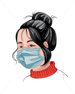 Chinese girl with dark hair and red sweater wearing a protective mask. Corona Virus idea. Vector - Starpik Stock