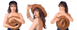 Collage of a beautiful caucasian girl posing in different positions. Covering breast with cowboy hat. Expressing tenderness. Isolated background. Vector - Starpik Stock