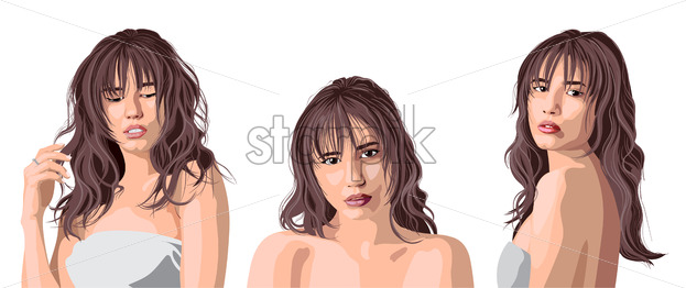 Collage of a beautiful caucasian girl with bangs posing. Expressing tenderness. Vector - Starpik Stock