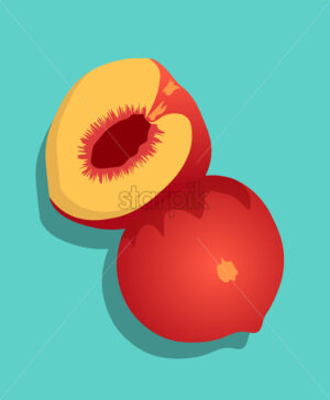 Composition of half sliced peach fruit on turquoise background. Vector - Starpik Stock