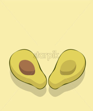 Composition of two halves of avocado, one with the seed inside. Light green background. Vector - Starpik Stock