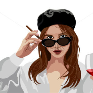 Elegant young girl with beret hat and glasses holding a glass of wine and cigarette. Looking mysterious. Vector - Starpik Stock