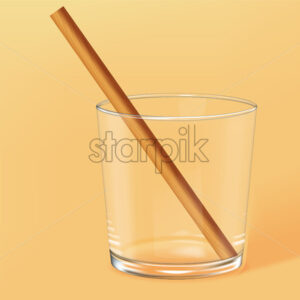 Empty old fashioned glass with bamboo straw inside. Beige background. Vector - Starpik Stock