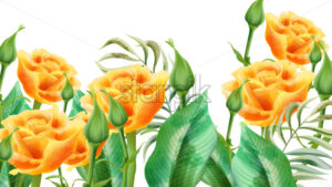 Floral composition of yellow roses, rosebuds and leaves. Vector - Starpik Stock