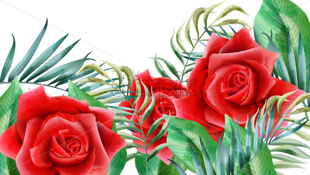 Floral composition with red roses, rosebuds and leaves. Vector - Starpik Stock