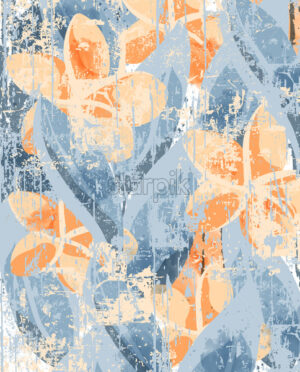 Frangipani flowers and leaves pattern in grunge style. Scratched and beat up design. Vector - Starpik Stock