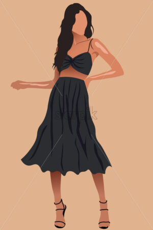 Glamorous tanned woman with long hair in black skirt, top and high heels. Vector - Starpik Stock