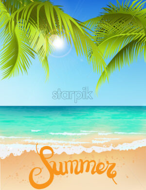 Green palm tree growing above blue sea in summer time. Waves on water. Place for text. Vector - Starpik Stock