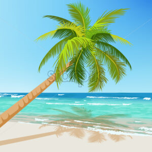 Green palm tree growing above blue sea in summer time. Waves on water. Vector - Starpik Stock