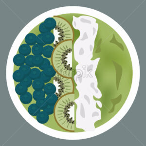 Green porridge with blueberries, kiwi slices and whipped cream on top. Vector - Starpik Stock