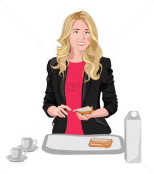 Happy blonde woman dressed in black jacket and pink blouse spreading some butter on bread. Cups, milk and bread on white table. Vector - Starpik Stock