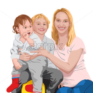 Happy family. Mom cuddling her two sons. Smiling children and mother. Vector - Starpik Stock