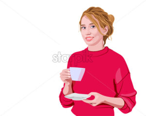 Happy woman in pink sweater holding a cup and smiling. Vector - Starpik Stock