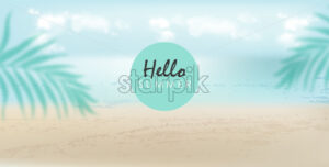 Hello summer banner with beach, sea and palm leaves. Cloudy day with breeze. Vector - Starpik Stock