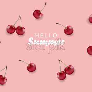 Hello summer banner with cherry fruits and rose background. Vector - Starpik Stock