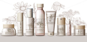 Herbal Set of cosmetic with wooden cap. Thermal water, serum, cream, lotion, body mask, spray, milk, tonic. Place for text. Product placement. Floral background Realistic vector - Starpik Stock