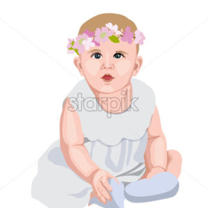 Joyful baby in white dress and socks with flower crown on head. Smiling and wondering. Vector - Starpik Stock