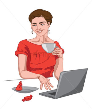 Joyful brunette woman in red dress looking at the camera with a cup of coffee in her hand and working on laptop. Red candy on table. Vector - Starpik Stock