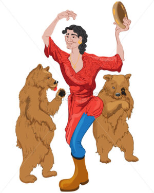 Joyful gypsy woman dressed in red dress with blue and yellow boots dancing with two bears. Vector - Starpik Stock