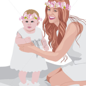Joyful mom and her child wearing white dresses and floral crowns on head. Vector - Starpik Stock