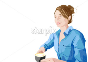 Joyful woman in blue shirt enjoying a cup of coffee. Vector - Starpik Stock