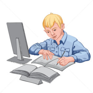 Joyful young blonde boy in blue shirt making his homework. Books and personal computer on the desk. Vector - Starpik Stock