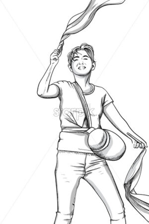 Joyful young man dancing with pom poms. Gym bag. Line art. Vector - Starpik Stock