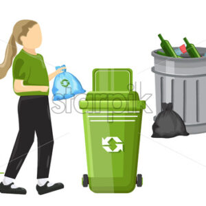 Little girl using ecology bag for throwing trash in the can. Traditional cans on background. Vector - Starpik Stock