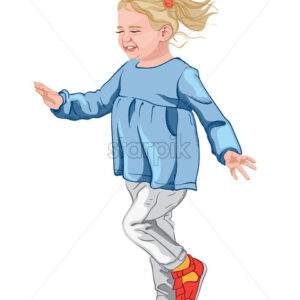 Little happy girl in blue blouse, white jeans and colorful shoes. Blonde hair with a red scrunchie. Vector - Starpik Stock
