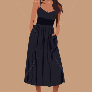 Long haired brunette in black dress and high heels. Vector - Starpik Stock
