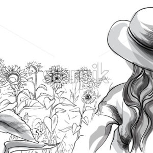 Long haired girl in a hat and blouse standing in sunflower field. Line art. Vector - Starpik Stock
