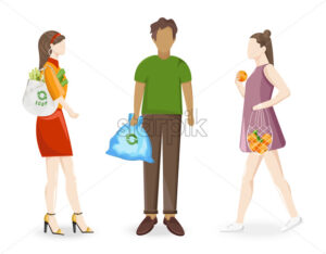 Man and women using reusable ecology bags when going to grocery store or taking out trash. Vector - Starpik Stock