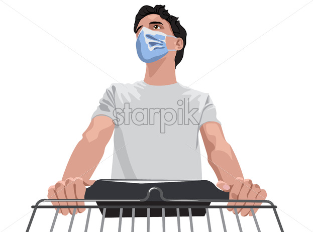 Man in white t-shirt and protective medical mask walking with a shopping cart through grocery. Vector - Starpik Stock